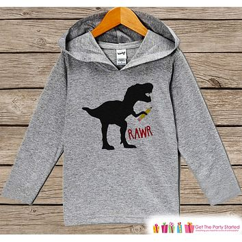 Dinosaur School Shirt - Kids Dinosaur Pencil Hoodie - Funny Boys Back to School Shirt - Dino Shirt - Humorous Boys Dinosaur Student Shirt