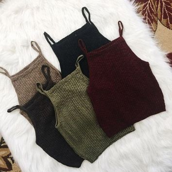 Fashion Summer Casual Women Knitted Crop Tops