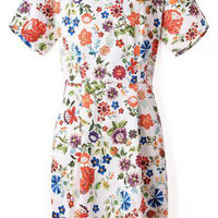 White Short Sleeve Floral Backless Mini Pencil Dress