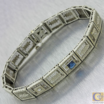 1930s Antique Art Deco 10k Solid White Gold Sapphire Diamond Filigree Bracelet
