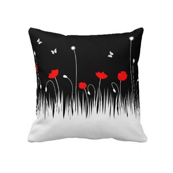 Red poppies Pillow from Zazzle.com