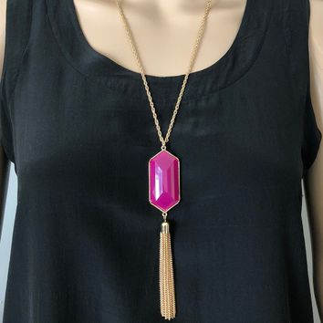 Purple Resin Stone and Gold Tassel Long Necklace