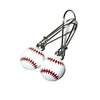 Metal Baseball Earrings