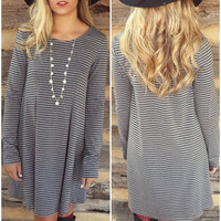 Drop A Line Gray & Black Striped Basic Long Sleeve Dress