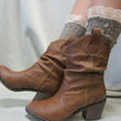 Nordic Lace short boot  lace socks in BROWN tweed for combat or cowboy boot socks by Catherine Cole Studio ruffled lace SLX1BL Made  in usa