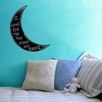 Crescent Moon Chalkboard Wall Decal