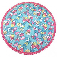 Feather Terry Round Beach Towel with Fringe by Simply Southern