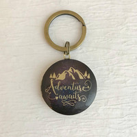 Mountain Adventure Awaits Locket Keychain, travel hiking camping climbing outdoors nature birthday teacher gifts gift for her him unisex