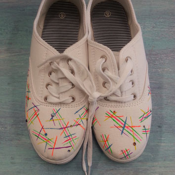 Neon Scribbles Hand Painted Womens Canvas Flats/Canvas Shoes (Keds Style)
