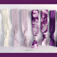 8 Elastic HAIR TIES, Purple Tie Dye  - Yoga Bands, No Tug, Dent, Gifts for Teen, Mothers Day