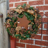 Primitive Pine Christmas Wreath - P.. on Luulla