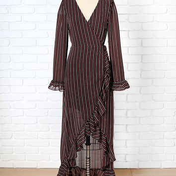 Black Striped Asymmetrical Wrap Maxi Dress