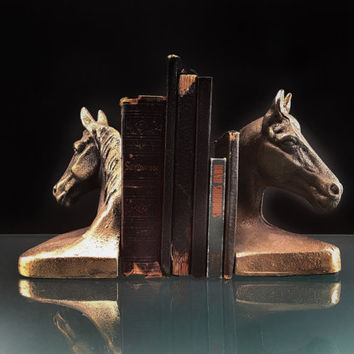 Metal Horse Head Bookends (Set of 2)