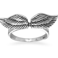 Oxidized Angel Wings Ring