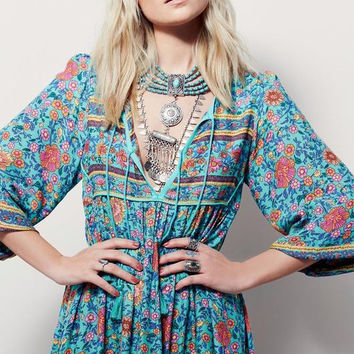 """Free People"" Fashion Retro Tassel Irregular Multicolor Floral Print V-Neck Middle Sleeve Maxi Dress"