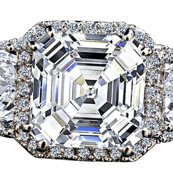 3.5CT. Intensely Radiant Asscher Cut Center Diamond Veneer Cubic Zirconia with Halo Settings Set with Zirconite Half-Moon Sides Sterling Silver Ring. 635R71560