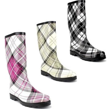 West Blvd Women's Rubber Boots Calf High Tall Plaid Print Rain Boot