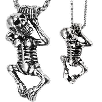 Couple necklace stainless steel skull skeleton pendants W chain valentines day gifts for him her lovers jewelry dropship GN108