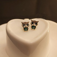Mini Owl Rhinestone Earrings
