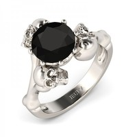 Jeulia Three Skull Round Cut Created Black Diamond Skull Ring