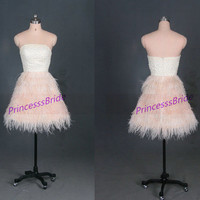 Short champagne homecoming dress with ostrich feather,2014 strapless prom gowns on sale,cheap women dresses for wedding party.