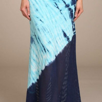 Baby Blue Chatoyant Duo Fabric Tie Dye Maxi Skirt