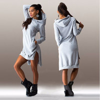 Asymmetrical Long-Sleeve Hoodie Dress