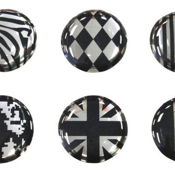 Black Silver  6 Piece iPhone Home Button Decal by ShakaBaba