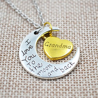"""Women's """"I Love You To The Moon And Back"""" Silver Necklace Vintage Family Necklaces Pendants Fashion Jewelry Mom Gift"""