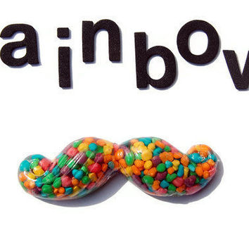 Rainbow Nerds Candy Handlebar Mustache Necklace by CalliopeKitten