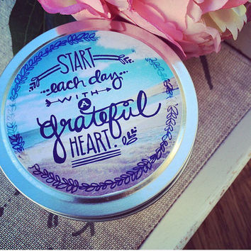 Inspirational Candle | Pure Soy Wax | Large Gold or Silver Travel Tin | Affirmation Candle