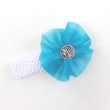 Baby girls Blue Headband, white stretch band  with a zebra bottle cap  center, baby girl,  girl's, women's,