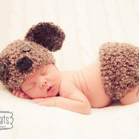 Baby Puppy Hat and Diaper Cover Set in choice of two color combos--Perfect Newborn Photo Prop