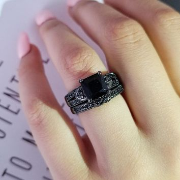 Black color titanium Wedding Rings set bridal Classic Engagement Band Ring For Women luxury Jewelry party christmas gift R4781