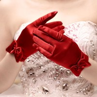Short red finger flower girl bridesmaid gloves women lady dancing party performance gloves free shipping