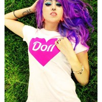 "Women's ""Doll"" Tee By Dirty Shirty (White)"