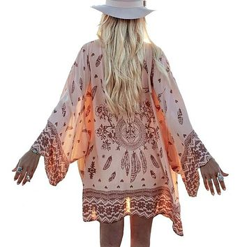Women Shirt Kimono Boho Cardigan Vintage Geometric Print Blouse Loose Shawl Lady Bohemian Coat Jacket Two Color