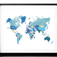 """10x8"""" 20x16"""" Printable world map with countries and names, shades of blue, shades of teal, gold foil, 20x16"""" map print download   map138 013"""
