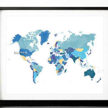 "10x8"" 20x16"" Printable world map with countries and names, shades of blue, shades of teal, gold foil, 20x16"" map print download   map138 013"