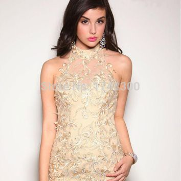 2015 Glamorous Champagne Embroidery Beaded Mermaid Prom Dresses Sexy Backless Evening Dress Long Party Prom Dresses Custom Made