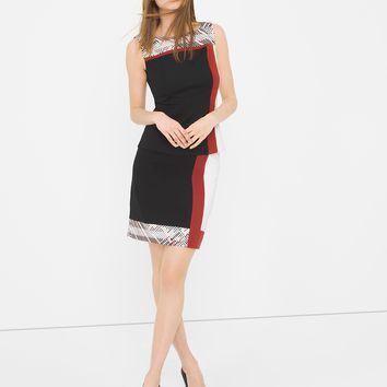 White House | Black Market Colorblock Embroidered Pencil Skirt