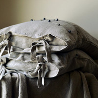 Natural stonewashed linen pillow case with ties. Pure linen bedding