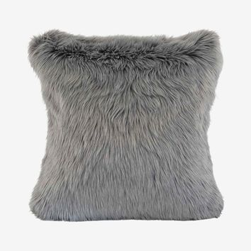 Rorik Faux Fur Pillow - Grey