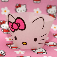 Instant Download - Hello Kitty Face Cupcake Wrappers
