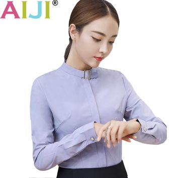 AIJI elegant women's long sleeve shirt OL career stand collar chiffon blouse tops ladies office business plus size work wear