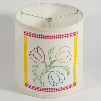 Vintage Hand Embroidered Floral Fabric on New Lamp Shade