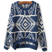 Geo Pattern Loose Knit Pullover Sweater