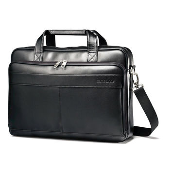 Samsonite Luggage Leather Slim Briefcase Black 16""