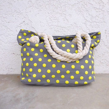 Neon & Gray Rope Handle Tote Bag