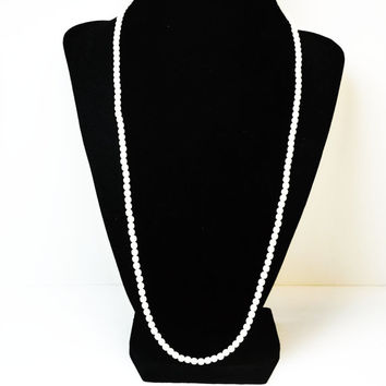 Crown Trifari Faux Pearl Necklace - White Pearlecent Beads - Great Classic Beaded Jewelry - Designer Signed